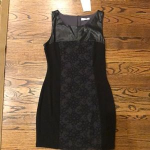 Vegan leather and lace dress